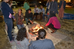 Making s'mores at the campfire in back circle on Monday night!