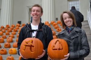 My brother Daniel (a current first-year at Transy) and me with our finished pumpkins!