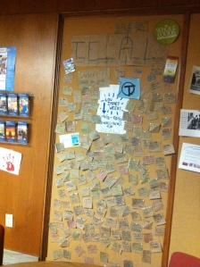 Look at all these eco-pledges Transy students posted in front lobby of Forrer Hall!